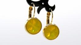 Серьги ′Swarovski Yellow Opal Классика′  позолота хрусталь