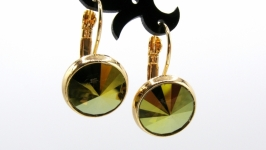Серьги ′Swarovski Iridescent Green Классика′  позолота хрусталь