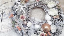 Новогодний венок 35см. Рождественский венок. Венок на дверь. Вінок