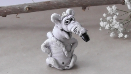 Белая крыса Фигурка сувенир 2020 rat figurine