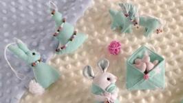 Набір новорічних ялинкових текстильних іграшок (7 іграшок в коробці) № 4