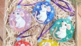 Набор коллекционных ёлочных игрушек Белая Крыса символ 2020 года (5 шт)