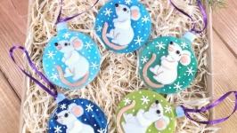 Набор коллекционных ёлочных игрушек Белая Крыса символ 2020 года (5 шт,)