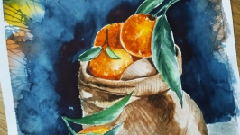 Картина ′ Мандаринки′ живопис акварель
