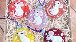 Набор коллекционных ёлочных игрушек Белая Крыса символ 2020 года(5 шт)
