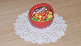 Вышивка Ришелье Декоративная круглая белая льняная салфетка Вышитая салфетк