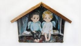 Ключница-вешалка Два ангела .