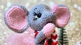 Мягкая игрушка ручной рабгты вязаная мышка мишка символ 2020 года