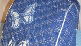 джинсовый рюкзак женский с бабочкой