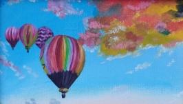 Картина маслом 15х20 Воздушные шары в лавандовом поле