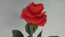 Красная роза из холодного фарфора. Ручная работа.