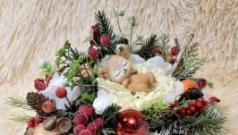 Новогодняя рождественская зимняя композиция декор подсвечник підсвічник