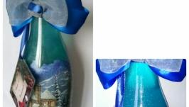 Декор новогодней бутылки в технике декупаж ′Ночь перед Рождеством′