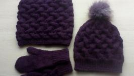 Комплект вязаный на зиму из 3 предметов
