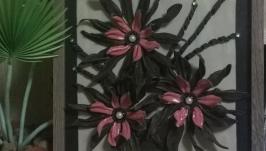 Картина из кожи ′Цветы в вазе′