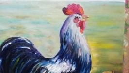 Картина ′Півень і гарбуз′, полотно, олія, мастехін, розмір 50х40 см