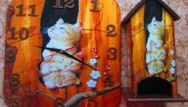 Интерьерные настенные часы ′Котята-непоседы′