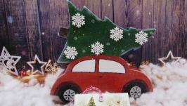 Новогодний декор Машина с елкой.