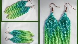 Серьги ′зеленые перышки′