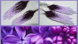 Серьги ′фиолетовые перышки′