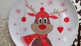 Рождественский Олененок, декоративная тарелка.