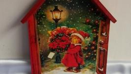 Ключница-домик ′Канун Рождества′, вешалка в детскую,прихожую,новогодний