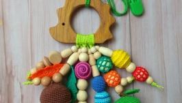 Развивающая игрушка Ёжик для малыша, грызунок прорезыватель ручная работа