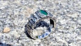 Авторское серебряное кольцо Змеиный глаз