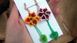 Серьги лилии чешский бисер ручная работа цветы