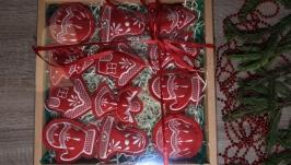 Набір ялинкових іграшок ′Різдвяний′ бордовий великий