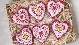 Набор елочных игрушек ′Сердечки′ в  крафт-коробке