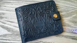 Портмоне мужское бирюзово-синий лев из натуральной кожи ручной работы