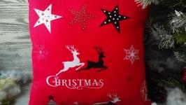 Новогодняя декоративная подушка красная ′Merry Christmas′ первая  35 см * 3