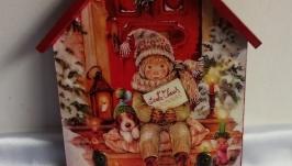 Большая ключница -домик Письмо Санте, ключница в прихожую,рождество,новый