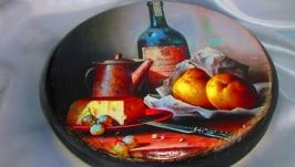 Сервировочная кухонная доска для подачи ′Натюрморт′, сырная, разделочная,