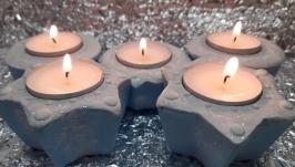 Подсвечники декор из гипса для чайной свечи набор 5 шт