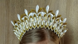 Золотая Корона снежинки Обруч на утренник Новогодний ободок для девочки