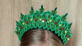 Корона Ёлочки Обруч Ёлка на утренник Новогодний ободок для девочки