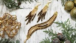 Комплект серьги и браслет ′Золотые искры′