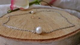 Чокер - цепочка с натуральной белой жемчужиной ′Ия′