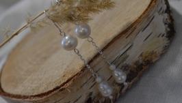 Серебряные серьги с жемчугом ′Грейс′