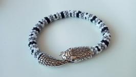 Серый браслет Жгут Змейка