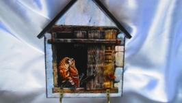 Ключница-домик ′Совенок′, настенная вешалка в детскую, прихожую