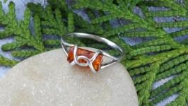 Кольцо серебряное с янтарём Бочонок