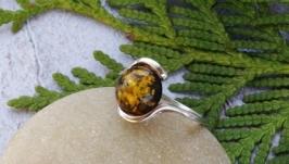Кольцо серебряное с янтарём 6