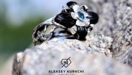 Авторское серебряное кольцо Неоновый нектар