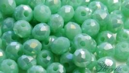Бусины хрустальные светло-зеленые с АВ напылением 3х4 мм
