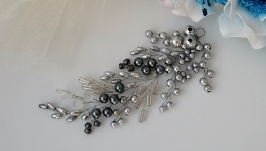 Серебряная веточка «отражение» - украшение в прическу