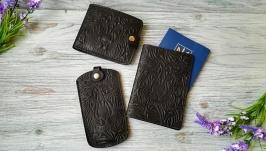 Подарочный набор из натуральной кожи черный лев (3 предмета)