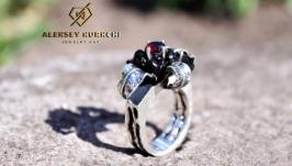 Авторское серебряное кольцо Чёрный ангел
